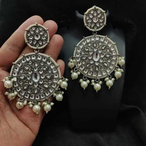 Silver Oxidized Kundan Earrings