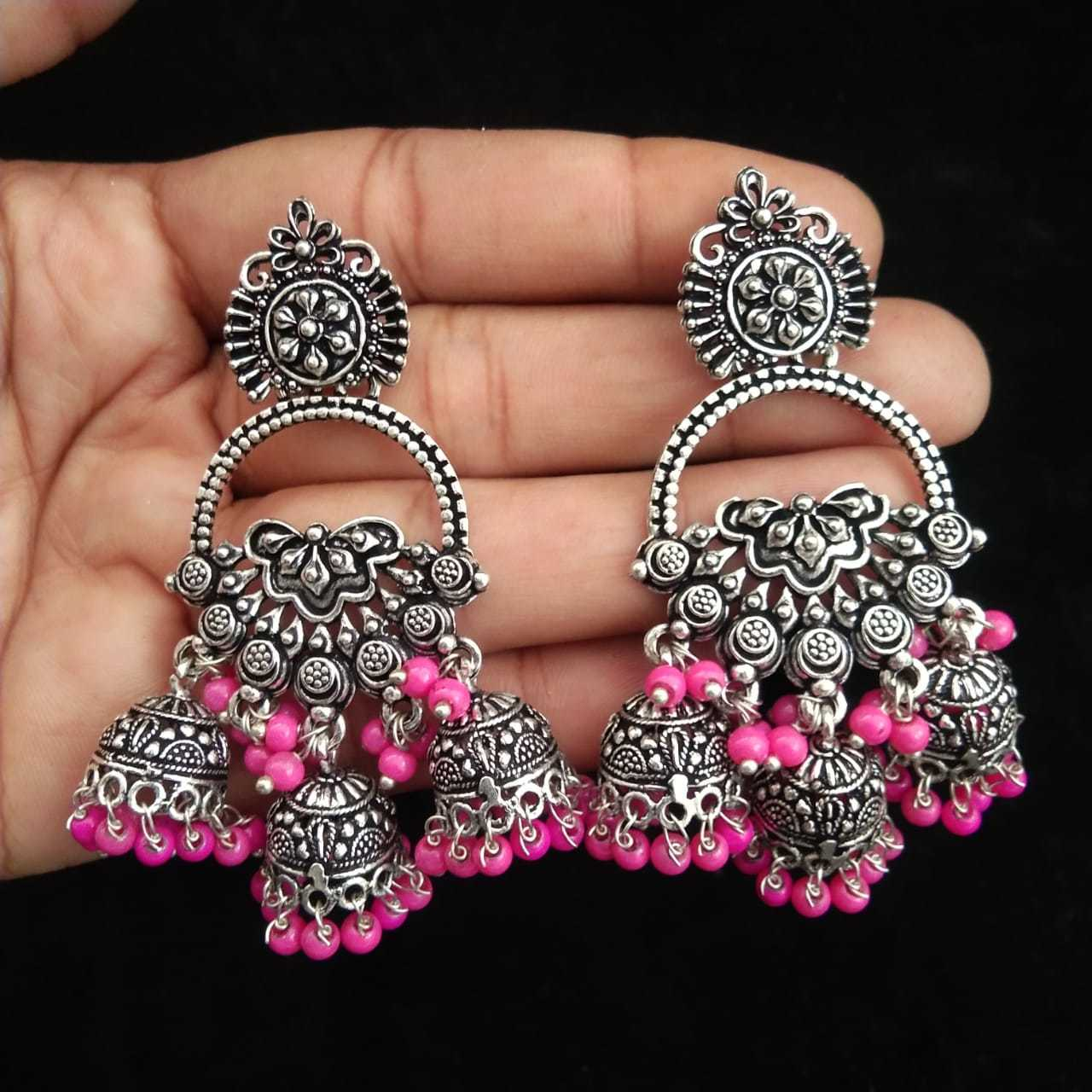 German Silver Stone Earrings