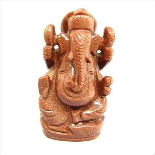 Gold Stone Carved Ganesha Statue