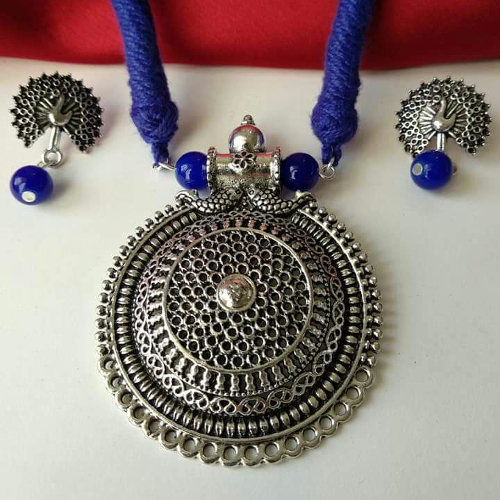 Blue Threaded Necklace Set