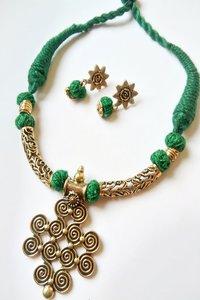 Brass Pendant Threaded Necklace