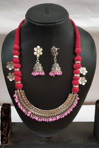 Designer Oxidized Pendant Threaded Necklace