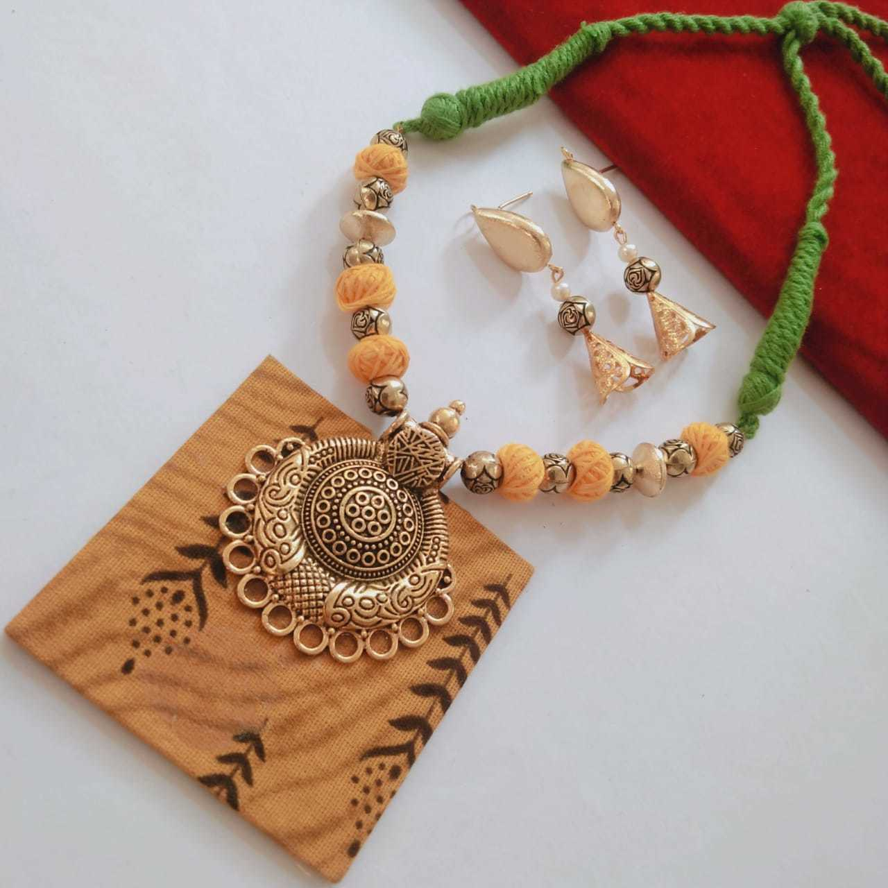 Fabric Necklace With Earrings
