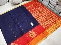Pure Silk Side Butta Blue With Orange Combination
