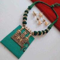 Designer Fabric Necklace Set