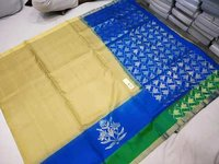 Pure kanchipuram side butta silk saree white with blue combination