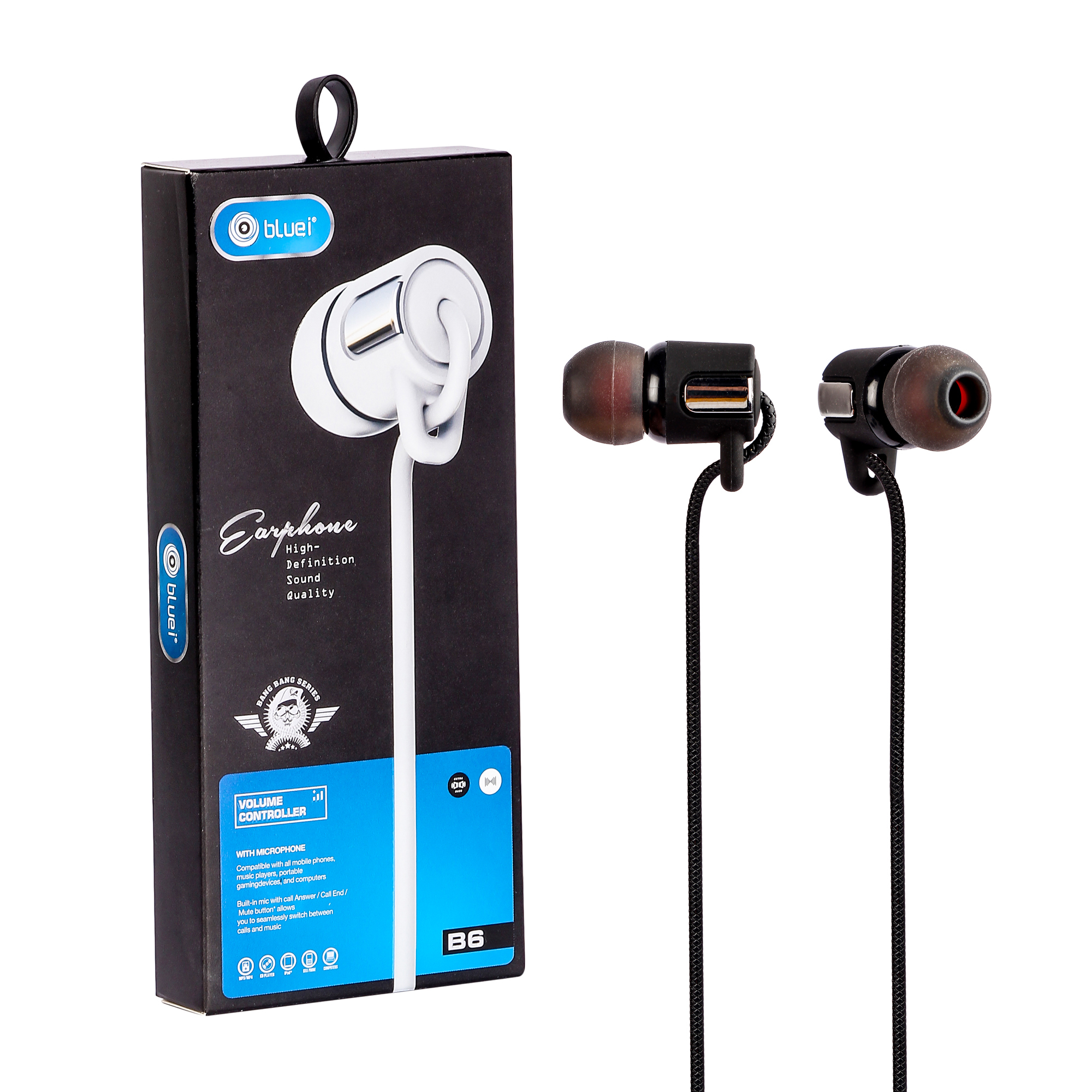 Bluei Bang Bang B6 Wired Handfree With Mic. 3.5 Mm Audio Jack