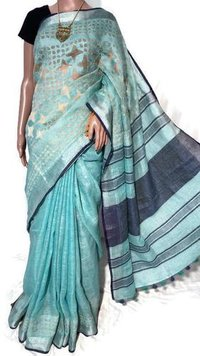 Manisha Silk Weaves Presents Pure Linen By Linen 120 Count Saree With Hand Applique Work All Over Border On Saree .