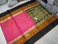 Pure Silk Kanchipuram Side Butta Pink With Black Combinaton