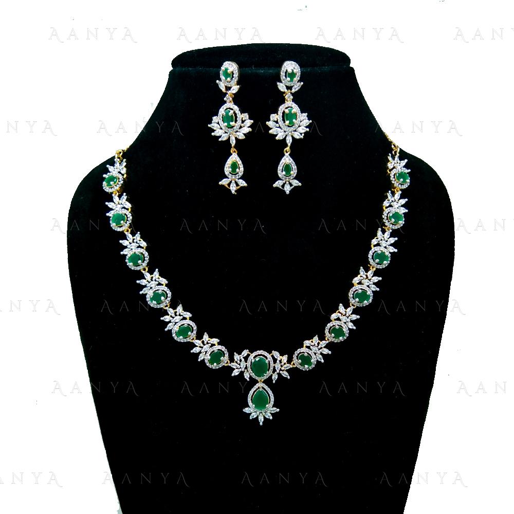 Immitation Jewellery AD Necklace Set