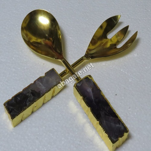 Amethyst Electroplated Agate Salad server Set