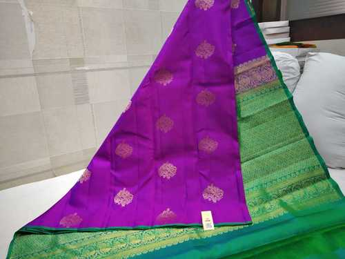 Pure Silk Thunread Soft Silk Saree Violet With Green Combination