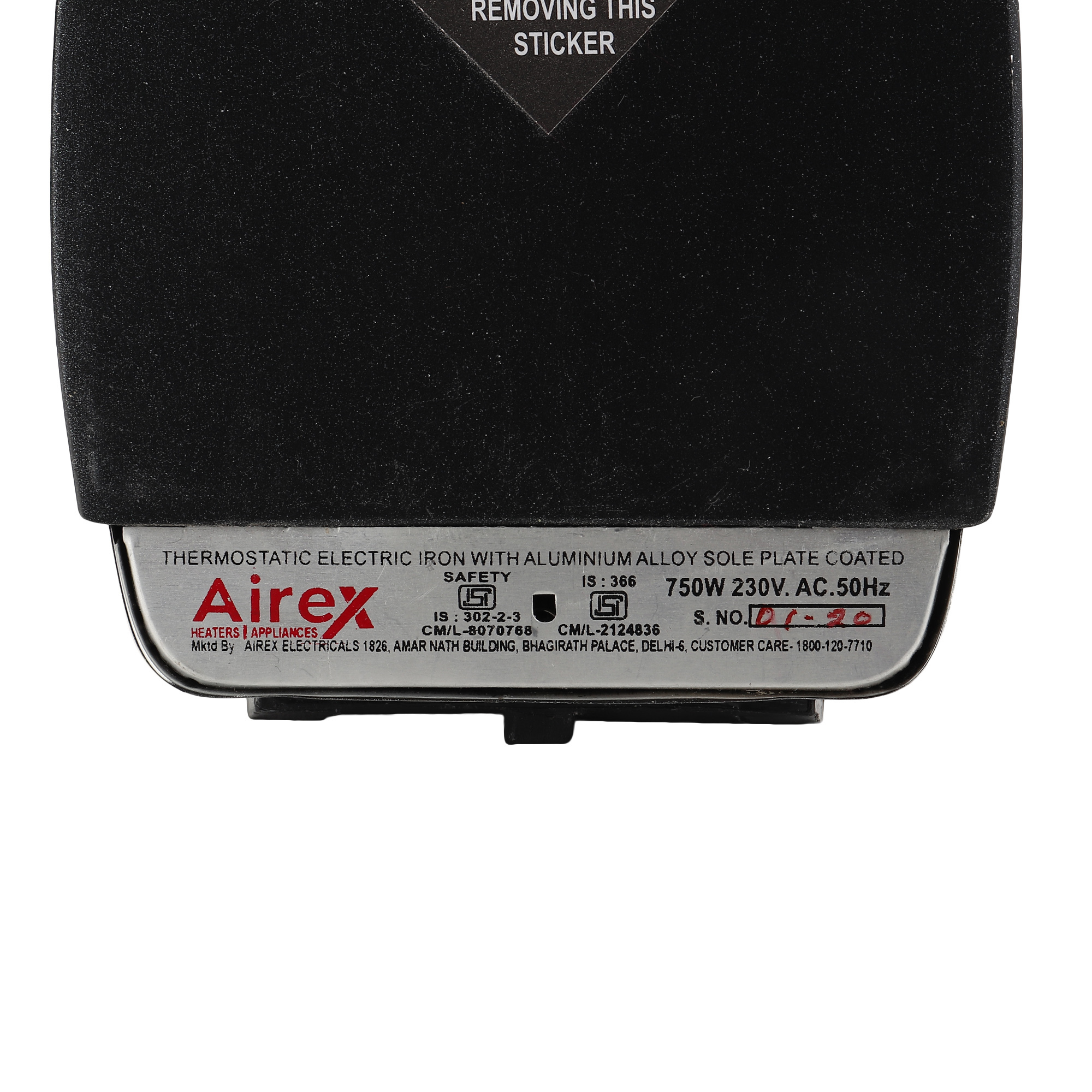 Airex AE-241 750-Watt Dry Iron Lightweight (Black)