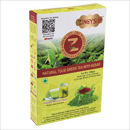 100 gm Zingysip Premium Green Tea - With Tulsi And Kesar