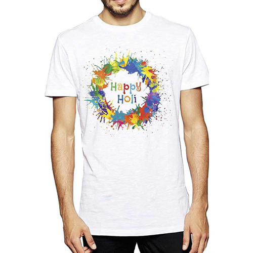 Men Round Neck Holi Printed T-Shirt