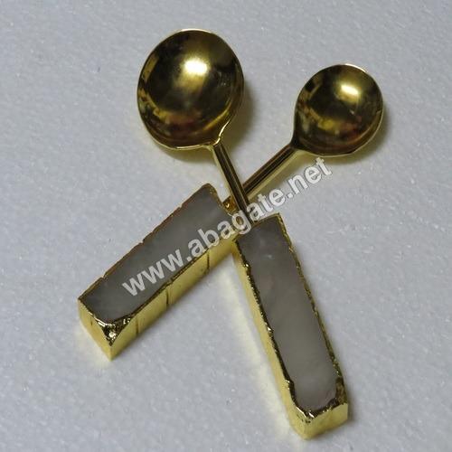 Rose Quartz Electroplated Agate Spoon Set