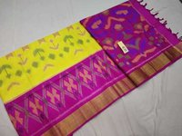 Pure Silk Ikkat Design Double Warp Soft Silk
