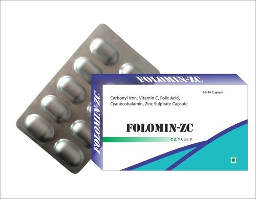 Carbonyl Iron, Vitamin C, Folic Acid, Cyanocobalamin, Zinc Sulphate Capsule Certifications: Fssai Gmp Iso22000