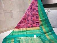 pure ikkat double warp silk