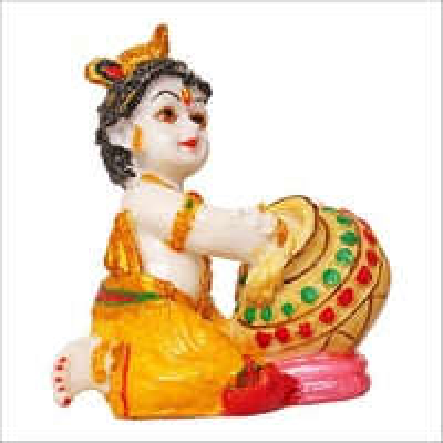 Marble Look Lord Krishna Multicolor Statue