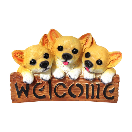 Polyresin Welcome Plate Dog Statues