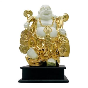 Gold Plated Laughing Buddha Statue