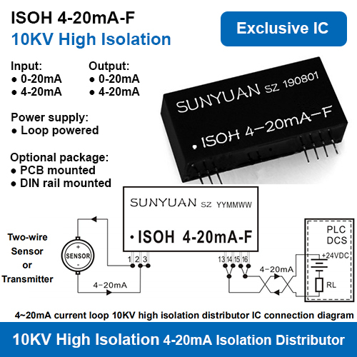 10KVAC High Isolation Two Wire Loop Powered 4-20mA Power Distributors