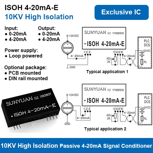 10KVAC High Isolation Two Wire Loop Powered 4-20mA Signal Conditioners