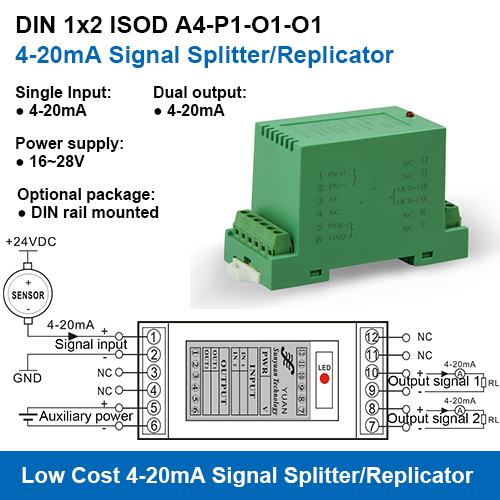 Single Input Dual Output 4-20mA Signal Splitters/Replicators