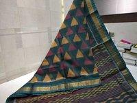 silk cotton ikkat desing saree