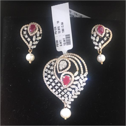 Natural Diamond Pendant Set