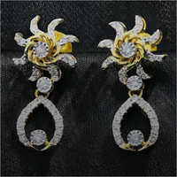 Diamond Sunflower Dangling Earring