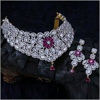 Diamond Bridal Necklace With Ruby Set