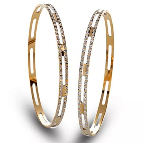 Gold Diamond Designer Bangle