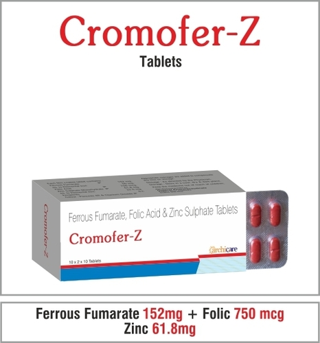 Ferrous Fumarate  152mg +Folic Acid  750mcg + Zinc Sulphate  61.8mg