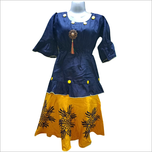 Girls Top With Cotton Skirt