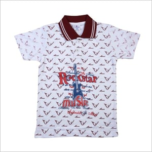 Kids Cotton Knitted Polo Neck T Shirt