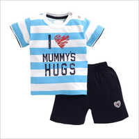 Kids Cotton Knitted Half Sleeve T Shirt With Shorts Set