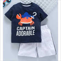 Kids Round Neck T Shirt With Shorts Set