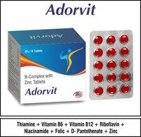 Thiamine 10mg + Vitamin B6- 3mg + Vitamin 12-15mcg + Niacinamide 50mg + Folic Acid 1000 mcg + Riboflavin 10mg + D-Pantothenate 5mg + Zinc Sulphate 60mg