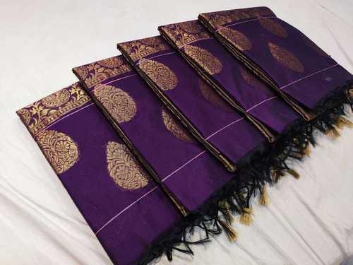 Gold Zari Butta Cotton Silk Saree