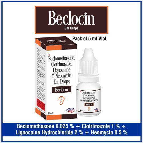Neomycin  5%w/v + Clotrimazole   1%w/v Beclomethasone  0.025%w/v + Lignocaine 2%w/v