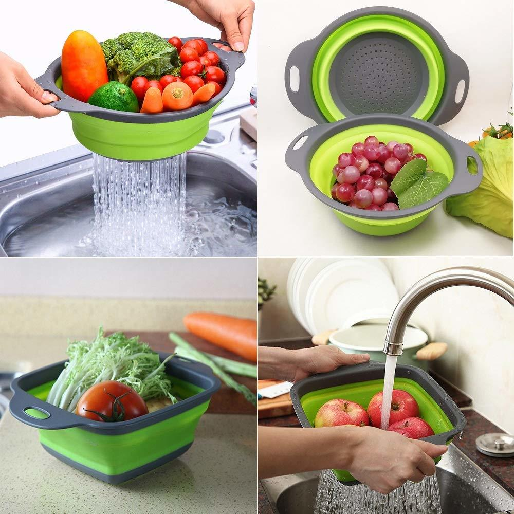 2 Pieces Collapsible Foldable Fruit Vegetable Washing Basket Strainer