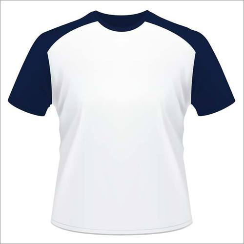 Mens White & Blue  Round Neck T-Shirt
