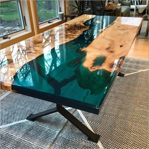 Wood And Resin Epoxy River Dining Table