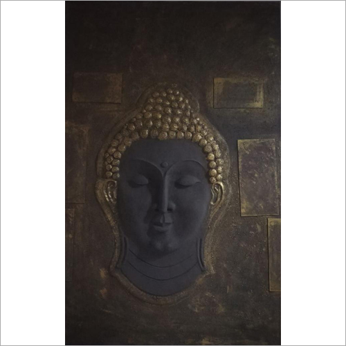 Metallic Budhha Face Wall Mural