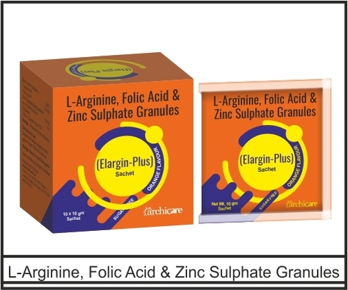 L- Arginine 3gm +  Zinc Sulphate Monohydrate IP eq to ele. Zinc 10mg + Folic 2.5mg
