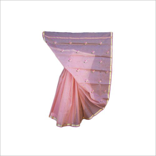 Chanderi Pink Silk Saree
