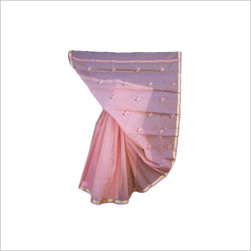 Chanderi Pink Silk Saree