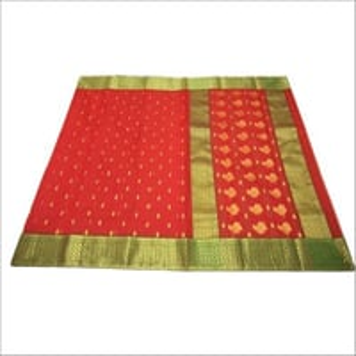 Chanderi Red Golden Silk Saree